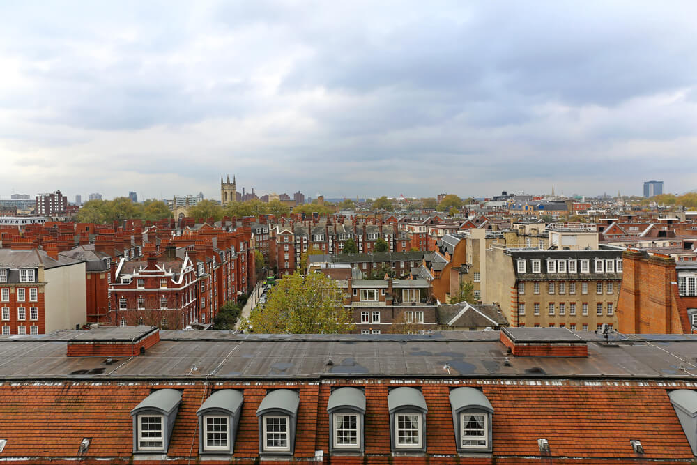 West view over South Kensington roofs in London