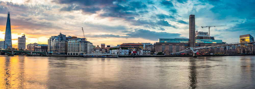 panorama of London bankside including Millenium bridge