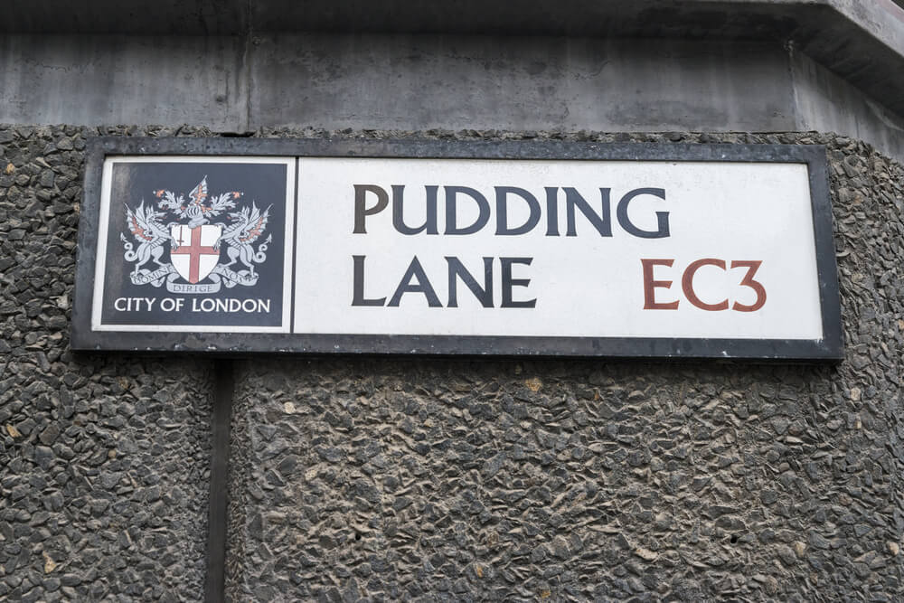 Pudding Lane in the City of London, location of where the Great Fire of London in 1666 started at a bakery
