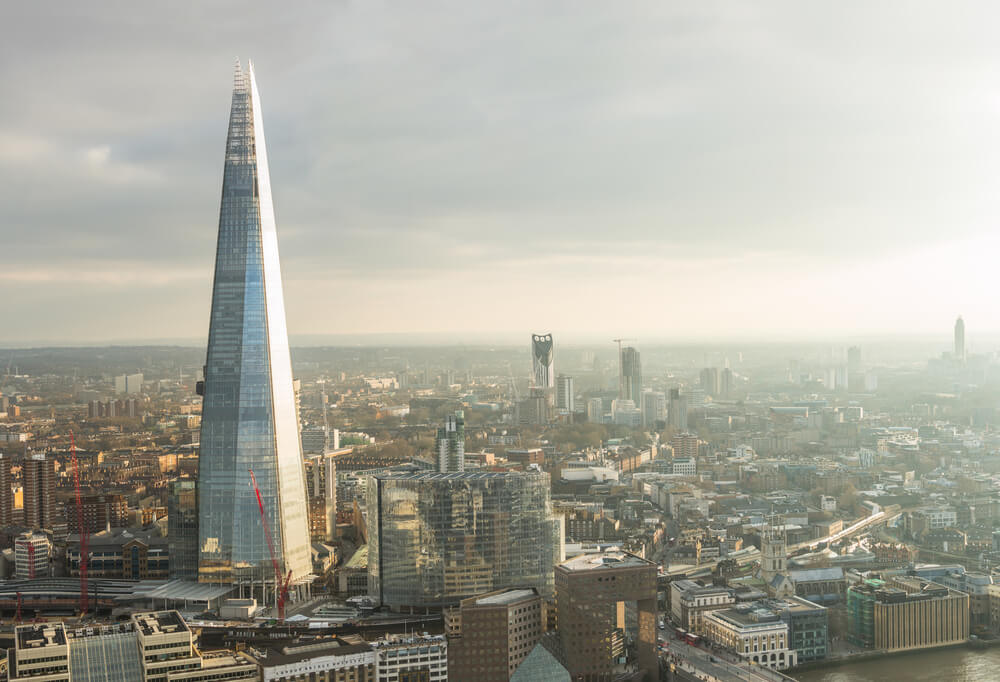 Aerial view of London with The Shard skyscraper