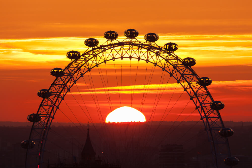 London eye with sunsetting in the middle