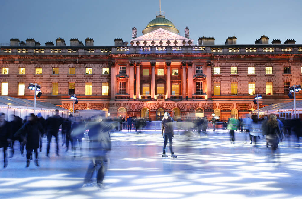 Night View of Somerset House ice rink in Strand, London