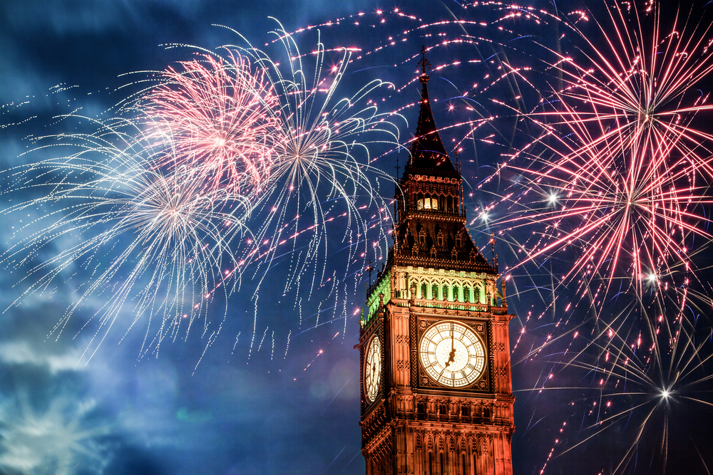 fire works in the sky above big ben