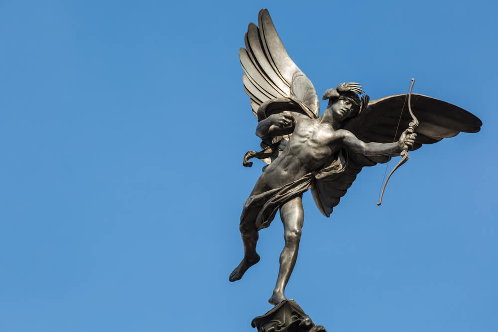Famous statue of Eros, Amor, Cupid at Piccadilly Circus in London