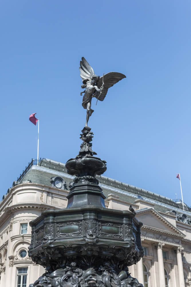 Fountain in Piccadilly Circus in London